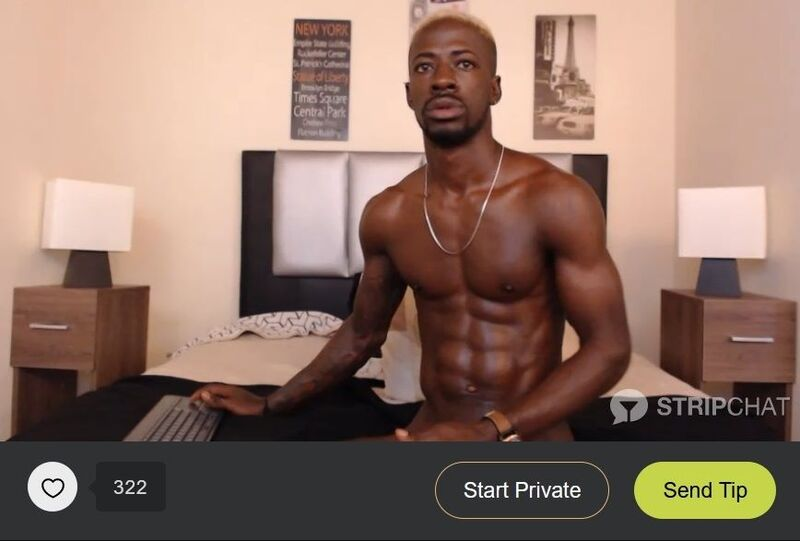 Hunky ebony model performing naked in his free room on Stripchat