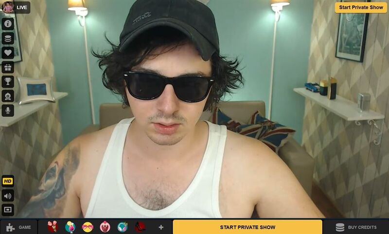 Raunchy cool model modeling his shades for his guests on Cameraboys