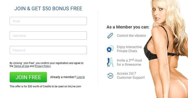Quick and easy sign-up process on ImLive.com